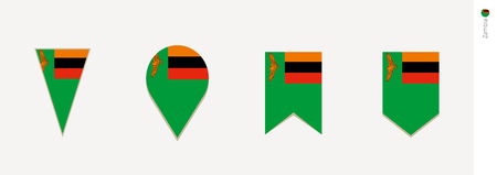 Zambia flag in vertical design, vector illustration.
