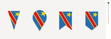 DR Congo flag in vertical design, vector illustration.