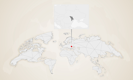 Map of Moldova with neighbor countries pinned on world map. Abstract triangles World Map.