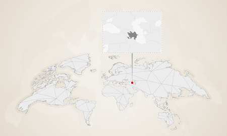 Map of Azerbaijan with neighbor countries pinned on world map. Abstract triangles World Map.