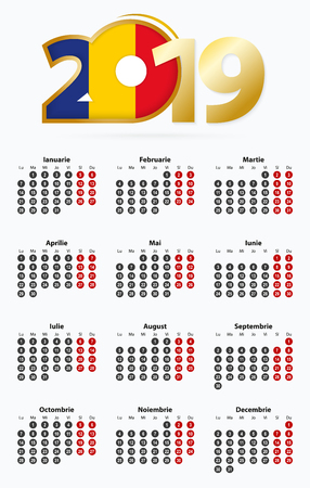Vector template calendar 2019 with number in circles, simple Romanian calendar for year 2019.