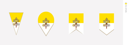 Vatican City flag in vertical design, vector illustration.