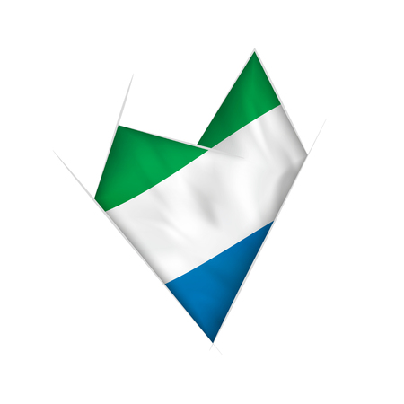 Sketched crooked heart with flag of Sierra Leone