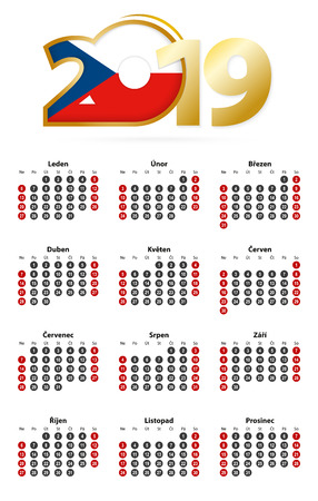 Czech calendar 2019 with numbers in circles, week starts on Sunday. 2019 with flag of Czech Republic