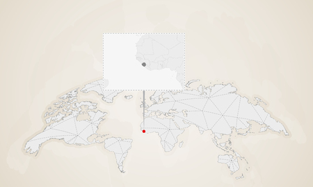 Map of Sierra Leone with neighbor countries pinned on world map. Abstract triangles World Map.