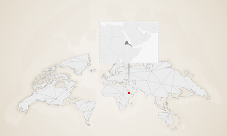 Map of Eritrea with neighbor countries pinned on world map. Abstract triangles World Map.