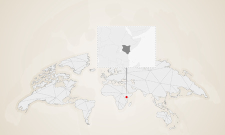 Map of Kenya with neighbor countries pinned on world map. Abstract triangles World Map.