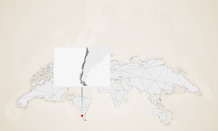 Map of Chile with neighbor countries pinned on world map. Abstract triangles World Map.