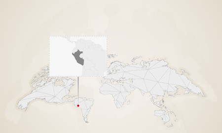Map of Peru with neighbor countries pinned on world map. Abstract triangles World Map.