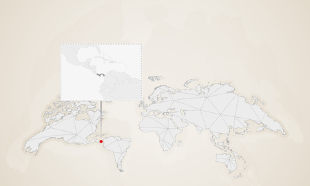 Map of Panama with neighbor countries pinned on world map. Abstract triangles World Map.