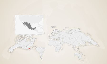 Map of Mexico with neighbor countries pinned on world map. Abstract triangles World Map.