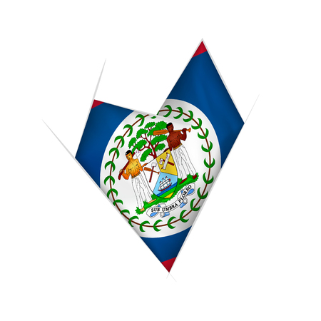Sketched crooked heart with flag of Belize Vetores