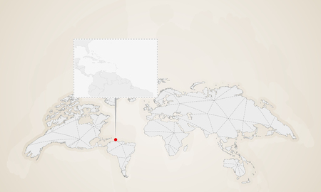Map of Grenada with neighbor countries pinned on world map. Abstract triangles World Map.