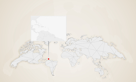 Map of Saint Lucia with neighbor countries pinned on world map. Abstract triangles World Map. Illustration
