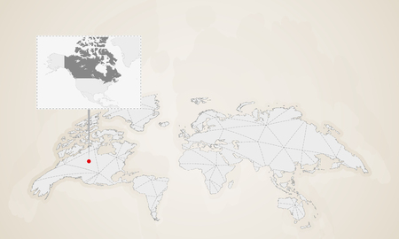 Map of Canada with neighbor countries pinned on world map. Abstract triangles World Map.