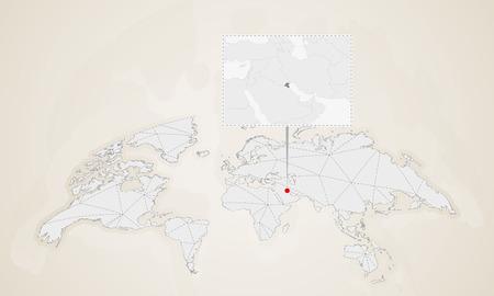 Carte du Koweït avec les pays voisins épinglés sur la carte du monde. Carte du monde de triangles abstraits.