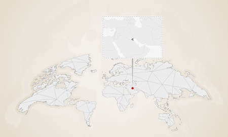 Map of Kuwait with neighbor countries pinned on world map. Abstract triangles World Map.