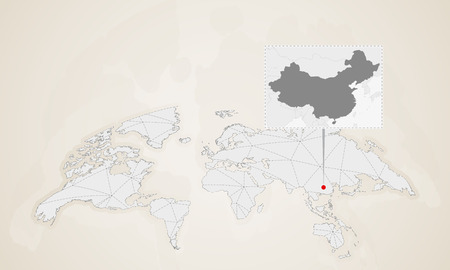 Map of China with neighbor countries pinned on world map. Abstract triangles World Map.