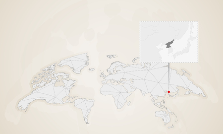 Map of North Korea with neighbor countries pinned on world map. Abstract triangles World Map. Vectores