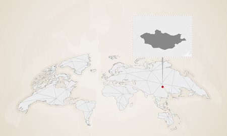 Map of Mongolia with neighbor countries pinned on world map. Abstract triangles World Map.
