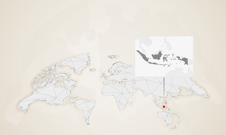 Map of Indonesia with neighbor countries pinned on world map. Abstract triangles World Map. Illustration