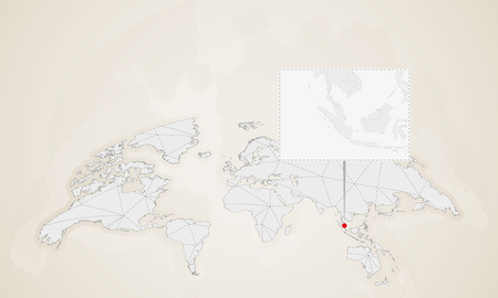 Map of Singapore with neighbor countries pinned on world map. Abstract triangles World Map.
