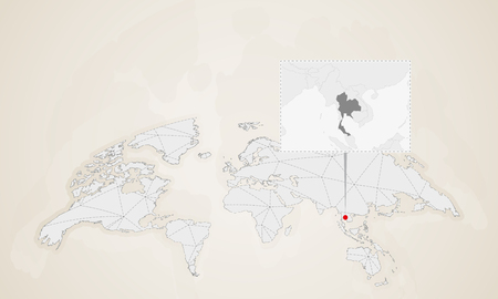 Map of Thailand with neighbor countries pinned on world map. Abstract triangles World Map.