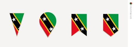 Saint Kitts and Nevis flag in vertical design, vector illustration.