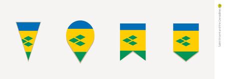 Saint Vincent and the Grenadines flag in vertical design, vector illustration.
