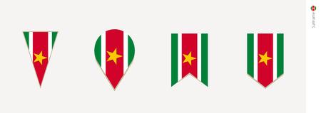 Suriname flag in vertical design, vector illustration.