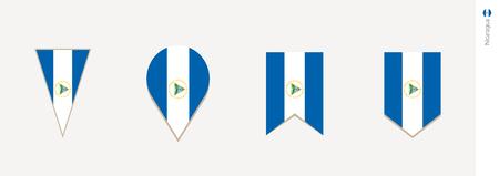 Nicaragua flag in vertical design, vector illustration.