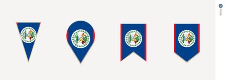 Belize flag in vertical design, vector illustration.