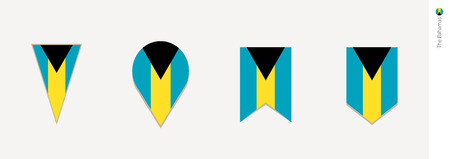 The Bahamas flag in vertical design, vector illustration. 向量圖像