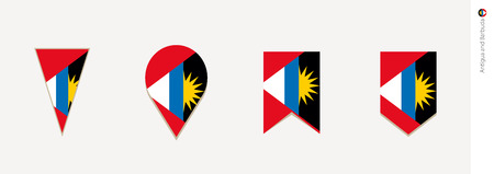 Antigua and Barbuda flag in vertical design, vector illustration.