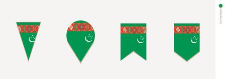 Turkmenistan flag in vertical design, vector illustration.