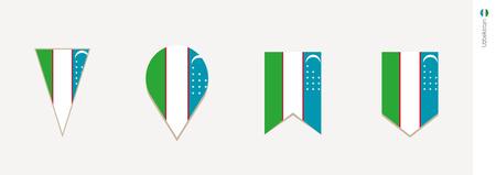 Uzbekistan flag in vertical design, vector illustration.