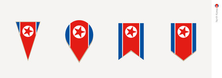 North Korea flag in vertical design, vector illustration.