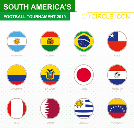 South Americas football tournament 2019, flags of all participants. Vector illustration. Illustration