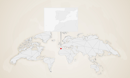 Map of Gibraltar with neighbor countries pinned on world map. Abstract triangles World Map.