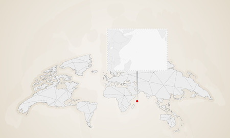 Map of Seychelles with neighbor countries pinned on world map. Abstract triangles World Map.