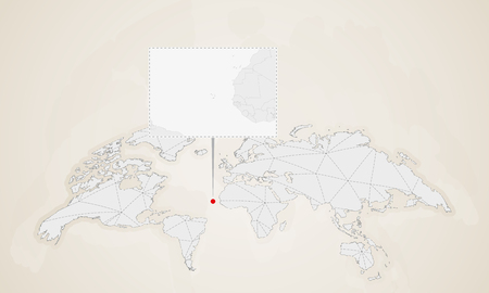 Map of Cape Verde with neighbor countries pinned on world map. Abstract triangles World Map.