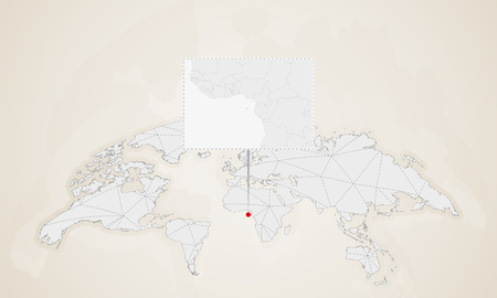 Map of Sao Tome and Principe with neighbor countries pinned on world map. Abstract triangles World Map.