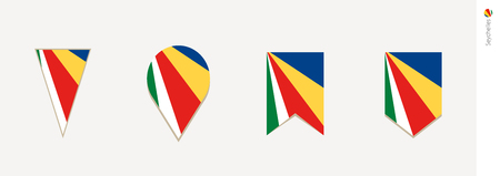 Seychelles flag in vertical design, vector illustration.