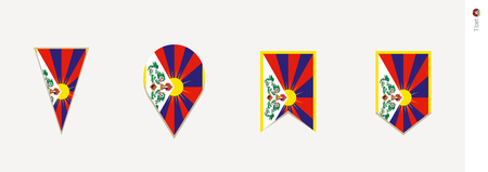 Tibet flag in vertical design, vector illustration.
