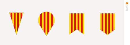 Catalonia flag in vertical design, vector illustration. Çizim