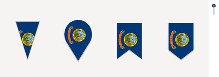 Idaho flag in vertical design, vector illustration.