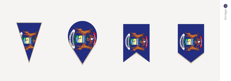 Michigan flag in vertical design, vector illustration.