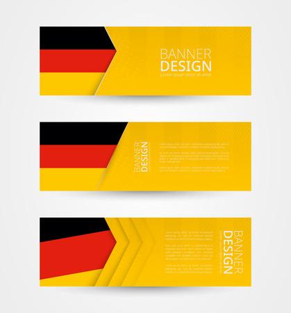 Conjunto de tres banderas horizontales con bandera de Alemania. Plantilla de diseño de banner web en color de la bandera de Alemania. Ilustración vectorial.