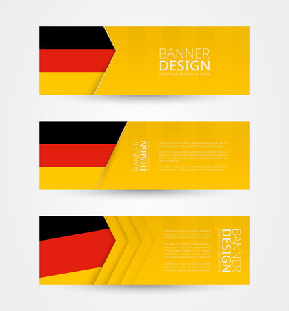 Set of three horizontal banners with flag of Germany. Web banner design template in color of Germany flag. Vector illustration.