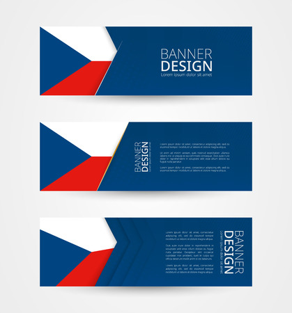 Set of three horizontal banners with flag of Czech Republic. Web banner design template in color of Czech Republic flag. Vector illustration.  イラスト・ベクター素材